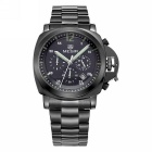 MEGIR Men's Steel Band Analog Quartz Wrist Watch - Black