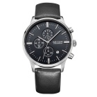 MEGIR Men's Genuine Leather Band Analog Quartz Watch - Black + White
