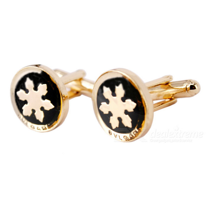 Circular Snowflake Pattern Men's Cufflinks - Gold + Black (Pair)