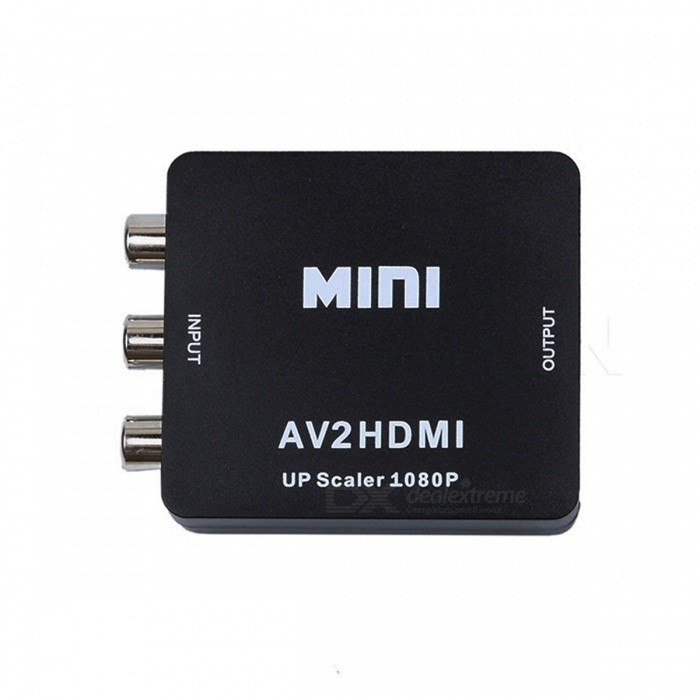 RCA AV to HDMI Converter Adapter Mini CVBS to HDMI AV2HDMI ConverterAV Adapters And Converters<br>Form ColorBlackMaterialABSQuantity1 DX.PCM.Model.AttributeModel.UnitShade Of ColorBlackConnectorHDMI,Others,AVPower AdapterOthers,N/APacking List1 x AV to HDMI converter1 x USB cable (70cm±2cm)1 x English user manual<br>