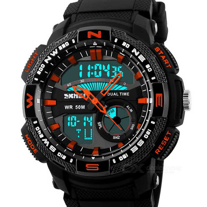SKMEI 1109 Mens Waterproof Analog + Digital Sports Watch - Black + OrangeSport Watches<br>Form  ColorBlack + OrangeQuantity1 DX.PCM.Model.AttributeModel.UnitShade Of ColorBlackCasing MaterialABSWristband MaterialPUSuitable forAdultsGenderMenStyleWrist WatchTypeSports watchesDisplayAnalog + DigitalBacklightBlueMovementDigitalDisplay Format12/24 hour time formatWater ResistantWater Resistant 5 ATM or 50 m. Suitable for swimming, white water rafting, non-snorkeling water related work, and fishing.Dial Diameter5 DX.PCM.Model.AttributeModel.UnitDial Thickness1.5 DX.PCM.Model.AttributeModel.UnitWristband Length27 DX.PCM.Model.AttributeModel.UnitBand Width2.2 DX.PCM.Model.AttributeModel.UnitBattery1 x CR2016; 1 x SR626SWPacking List1 x  Watch<br>