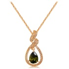 Xinguang Lightning Shaped Water Drop Crystal Pendant Necklace for Women - Gold