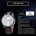 MEGIR Men's Waterproof Leather Band Quartz Watch - Brown + White
