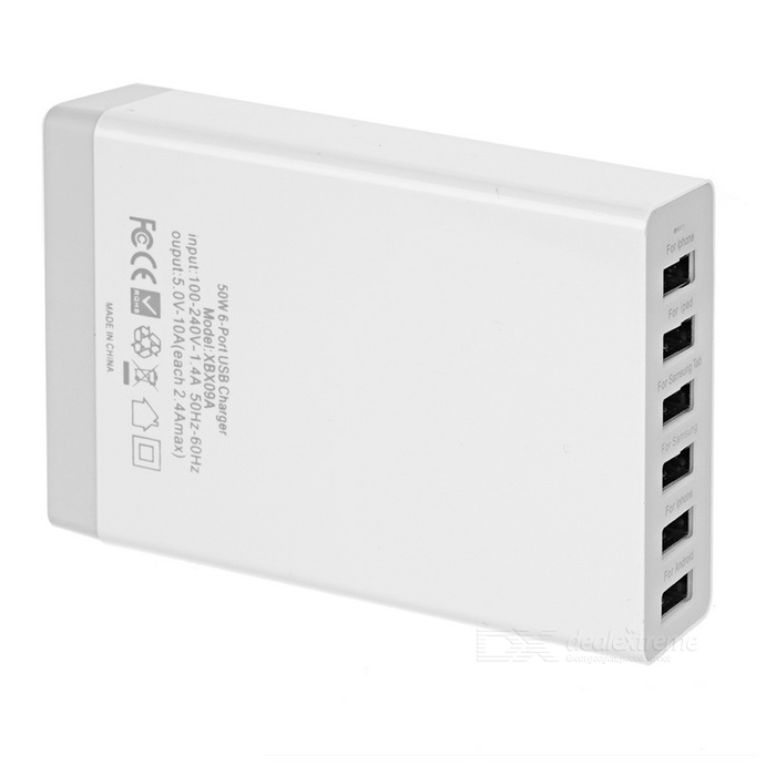 50W 10A 6-Port USB 2.0 Power Adapter Charger w/ UK Plug Cable - White