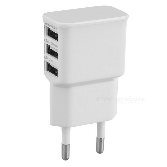 3-USB Charger for Samsung / Xiaomi / IPHONE + More - White (EU Plug)