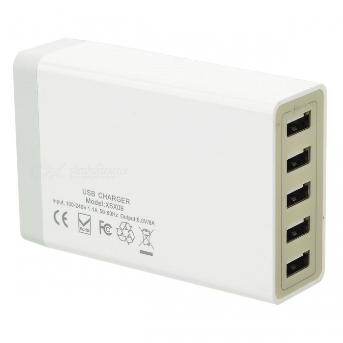 5V 8A 40W UK Plug USB 2.0 5-Port Power Charger - White