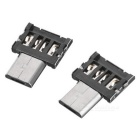 Micro USB Male to USB 2.0 Female OTG Adapter - Black + Silver (2PCS)