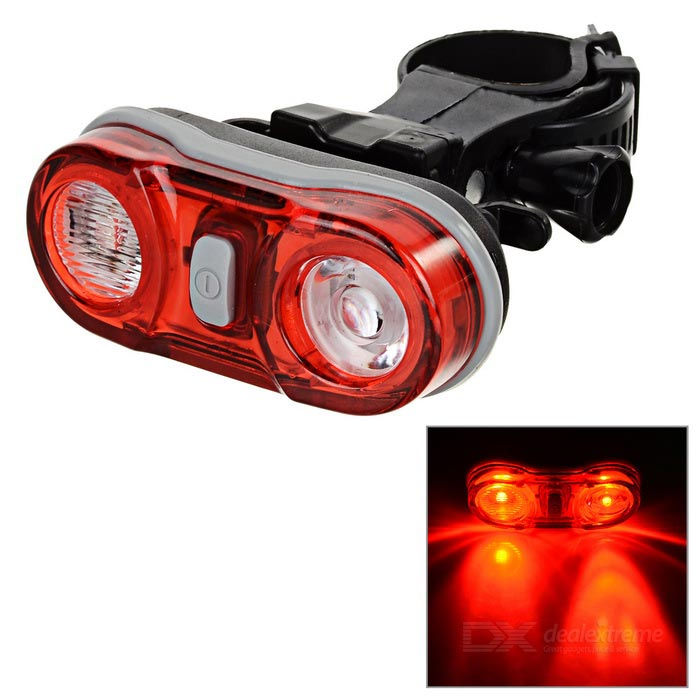 3-Mode 2-LED Bike Taillight Red w/ Clip - Black + Red (3 x AAA)