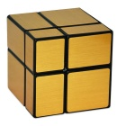 Mini Brushed Black Checkered Mirror Pocket Cube Puzzle Toy - Gold + Black