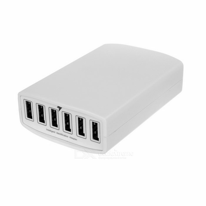 60W 12A 6-Port USB 2.0 Power Adapter Charger w/ UK Plug Cable - White
