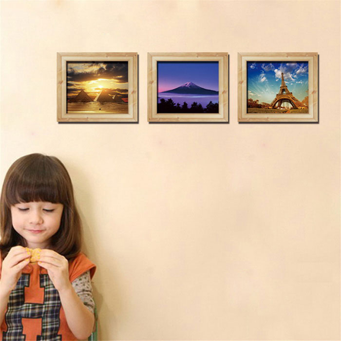 3D Landscape Triptych Wall Stickers Eiffel Tower - Multicolored