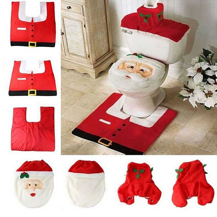 Santa Claus Closestool Cover + Floor Mat + Tank Cover + Towel - Red