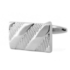 Men's Rectangular Jewelry Brass Cufflinks - Silver (Pair)