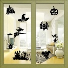 Halloween Witch Pattern Home Decoration Glass Window Wall Sticker Decal - Black