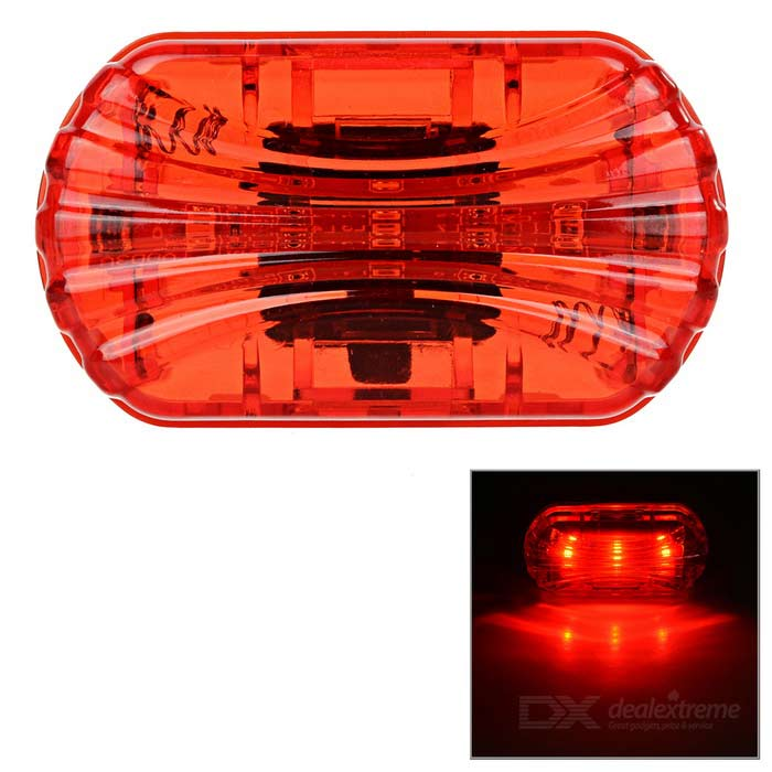 Waterproof 3-Mode 3-LED Red Bike Warning Light w/ Clip - Red + Yellow
