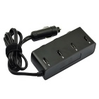 Jtron 12~24V 6A 4-USB 3-Socket Cigarette Car Charger - Black
