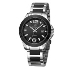MEGIR Men's Casual Waterproof Steel Wristband Quartz Watch - Black