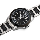 MEGIR Men's Waterproof Steel Wristband Quartz Watch - Black + Silver
