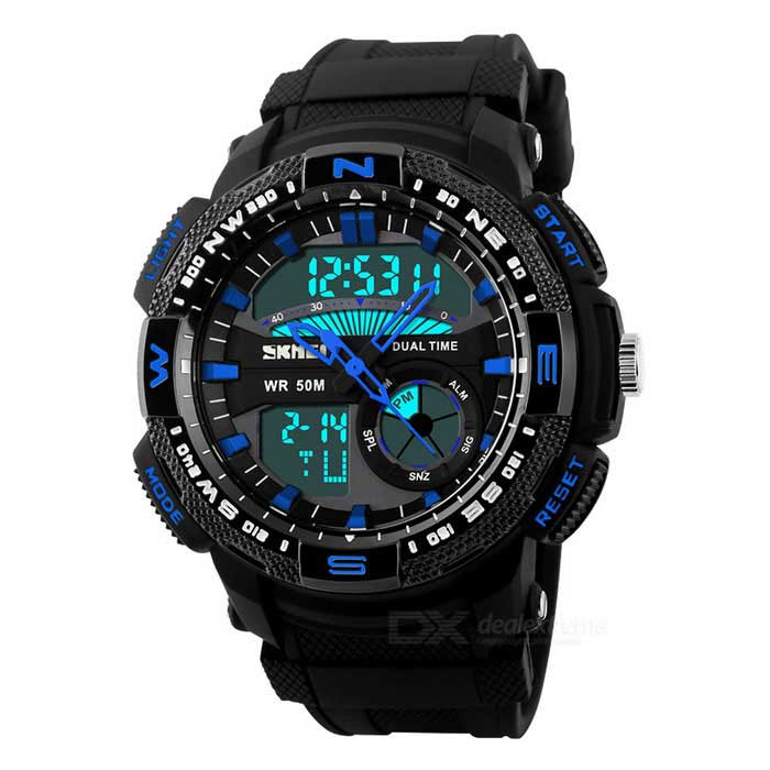 SKMEI Men's Waterproof Analog + Digital Sports Watch - Black + Blue