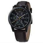 MEGIR Men's Multifunctional Leather Band Quartz Watch - Brown + Black