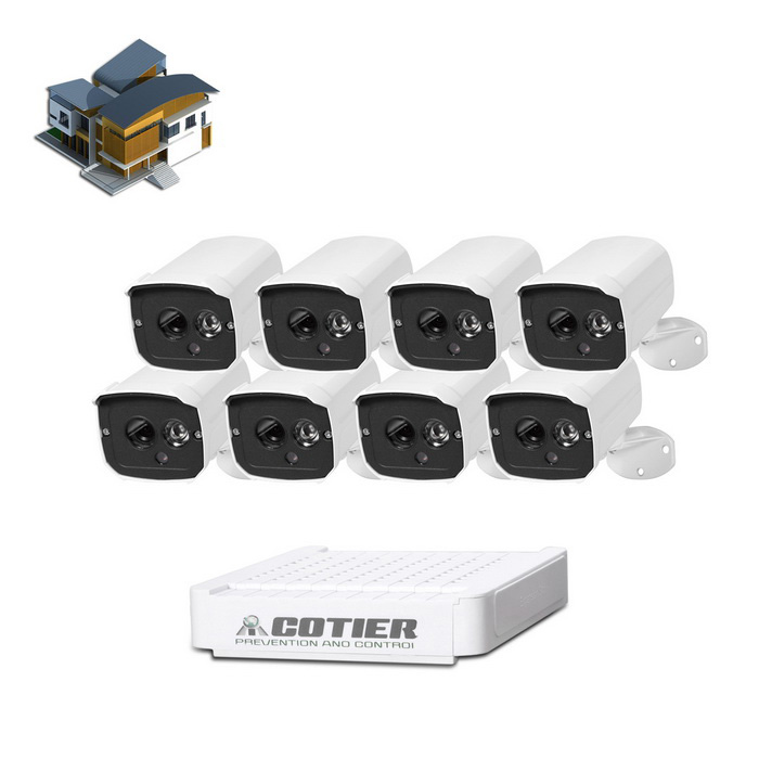COTIER 8-CH Mini NVR 960P IP Security P2P Camera NVR Kits - White
