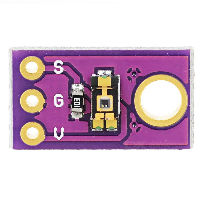 TEMT6000 Ambient Light Sensor - PurpleSensors<br>Form ColorPurpleModelN/AQuantity1 DX.PCM.Model.AttributeModel.UnitMaterialFR4, PCBApplicationCan identify light and inhibit infrared (IR) spectrumWorking Voltage   0 DX.PCM.Model.AttributeModel.UnitEnglish Manual / SpecNoDownload Link   http://bildr.org/2011/06/temt6000_arduino/CertificationMaximum Sensitivity: 570nm, with +/-60 sensitivity angle, can inhibit IR spectrum, so provide higher visible spectrum response similar to the human eye.Packing List1 x Ambient Light Sensor<br>