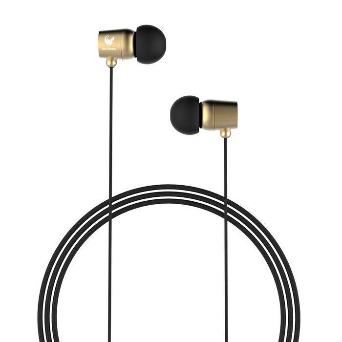 OLDSHARK 3.5mm In-Ear Earphones w/ Volume Control, Mic. - Gold + Black