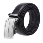 Fanshimite A01 Men's Geometric Pattern Automatic Buckle Leather Belt - Black (160cm)