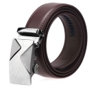 Fanshimite A06 Men's Automatic Buckle Cow Split Leather Belt - Brown (110cm)