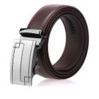 Fanshimite A01 Men's Geometric Pattern Automatic Buckle Leather Belt - Brown (120cm)
