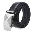 Fanshimite A06 Men's Automatic Buckle Cow Split Leather Belt - Black (125cm)