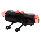Waterproof Highlight 6-Mode LED USB Bike Headlamp Red - Black + Red