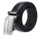 Fanshimite Men's Automatic Buckle Cow Split Leather Belt - Black (125cm)