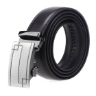 Fanshimite Men's Automatic Buckle Cow Split Leather Belt - Black (130cm)