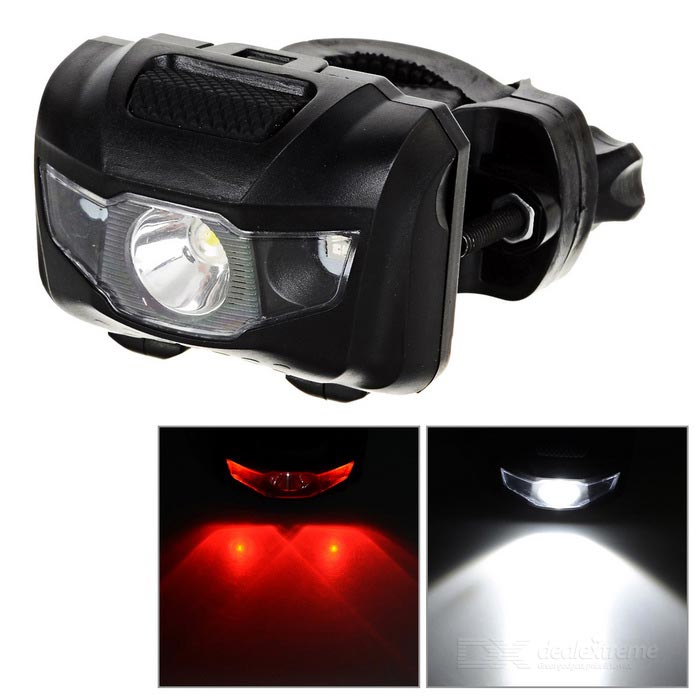 4-Mode 1-LED bianco neutro moto faro luce rossa + 2-LED - nero