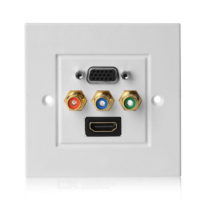 Panel de enchufe para montaje en pared HDMI + VGA + 3RCA - blanco
