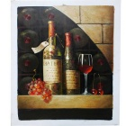 "Canvas Art Wine & Grapes Oil Painting - Brown + Red + Multi-Color (20"" x 24"")"