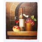 "Canvas Art Wine & Grapes & Flat Peach Oil Painting - Brown + Red + Multi-Color (20"" x 24"")"