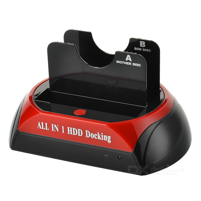 Docking Station w/ E-SATA for 2.5/ 3.5 SATA HDD - Black (EU Plug)HDD Dockings<br>Form ColorBlackQuantity1 DX.PCM.Model.AttributeModel.UnitMaterialABSForm Factor2.5,3.5Powered ByAC ChargerSupports Max. Capacity2 DX.PCM.Model.AttributeModel.UnitSlotSATASlot Number2Supports SystemWin xp,Win vista,Win7 32,Win7 64,Win8 32,Win8 64,MAC OS X,LinuxPacking List1 x HDD Docking Station1x100~240V power adapter (70cm)1 x Mini USB (80cm)1 x EU power cord (110cm)1 x CD<br>