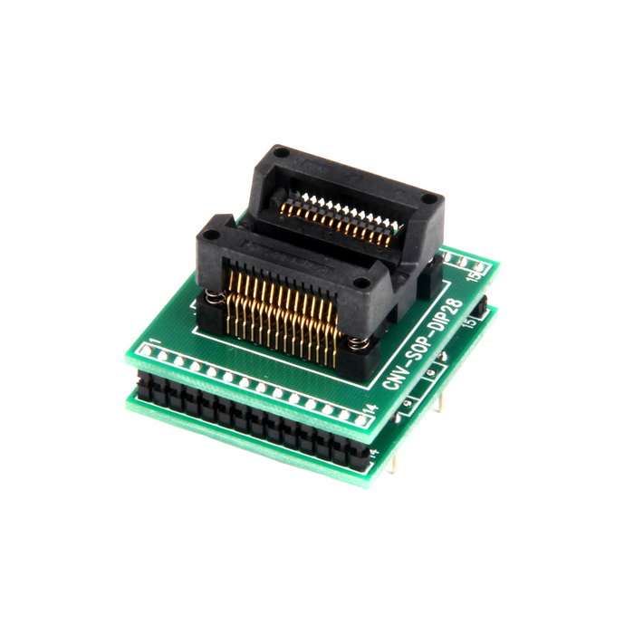 SOP28 to DIP28 300mil 1.27mm Pin Pitch Testing Mount - Green