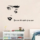Beautiful Portrait Design PVC Wall Sticker Decal - Black