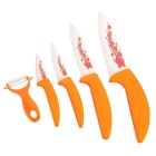 "3"" / 4"" / 5"" / 6"" + Peeler Kitchen Ceramic Knife Set - Orange (5 PCS)"
