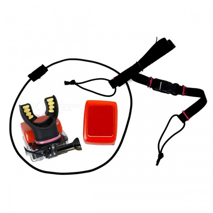 Mouth Mount Watersport Kit for GoPro Hero 4 3+ 3 2, XiaoMi Yi - BlackMounting Accessories<br>Form ColorBlackQuantity1 DX.PCM.Model.AttributeModel.UnitMaterialNon-toxic silicone + ABSShade Of ColorBlackCompatible ModelsOthers,GoPro Hero 2,GoPro Hero 3,GoPro Hero 3+,GoPro Hero 4,XiaoMi YiRetractableNoMax.Load500 DX.PCM.Model.AttributeModel.UnitBand Length60 DX.PCM.Model.AttributeModel.UnitPacking List1 x Mouth Mount1 x Strap1 x Float Sponge1 x Adhesive tape1 x Screw<br>