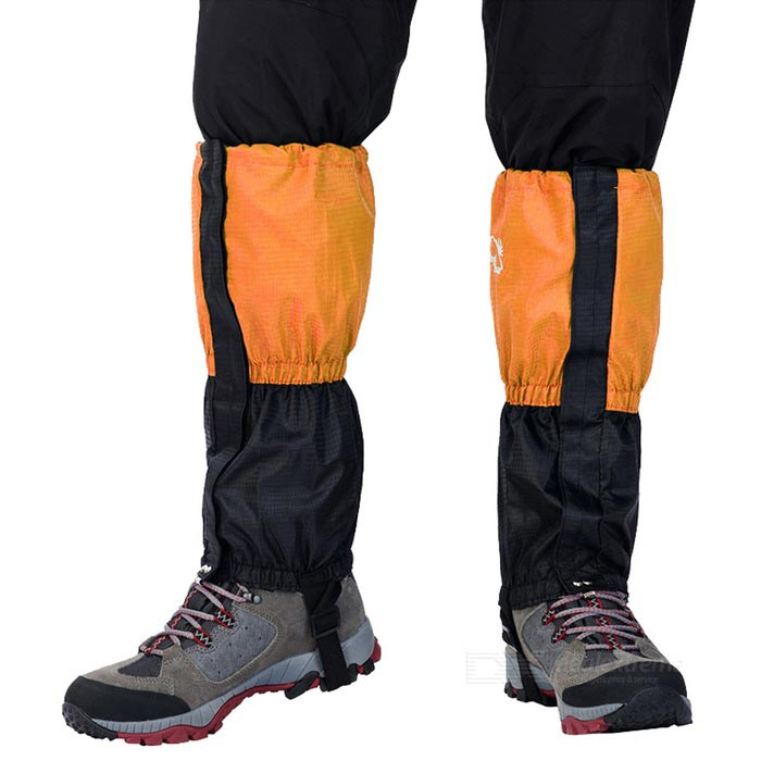 Wind Tour Snow Shoes Cover Wrap Legging Gaiter - Black + Orange (Pair)