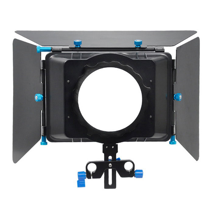 YELANGU Matte Box Lens Sunshade for Video Camcorder, DSRL - Black+Blue