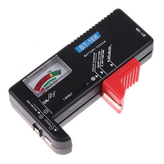 Universal Battery Checker Tester AA AAA C D 9V ButtonOther Measuring &amp; Analysing Instruments<br>Form ColorBlack + Red + Multi-ColoredModelBT-168Quantity1 DX.PCM.Model.AttributeModel.UnitMaterialABSScreen Size2 DX.PCM.Model.AttributeModel.UnitPowered ByPower FreePacking List1 x Battery Checker Tester<br>