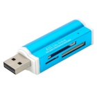 USB 2.0 SD / MS / TF / M2 Card Reader - Light Blue (4PCS)