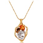 Xinguang Deformed Pebble Colored Crystal Necklace for Women - Gold