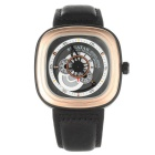 SPEATAK SP9053G Fashion Leather Strap Square Dial Analog Display Quartz Watch - Gold + Black