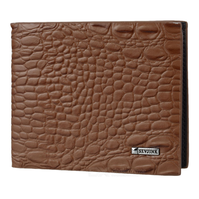 Mode homme alligator grain court style cuir portefeuille - marron